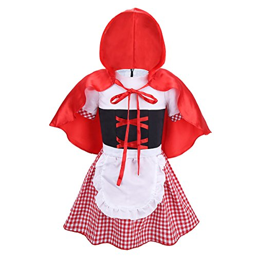 iEFiEL Infant Baby Girls Little Red Riding Hood Costume Halloween Cosplay Party Dress with Cloak Red&White 3-4 -