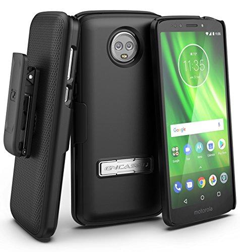 Encased Moto G6 Case with Belt Clip Holster - Rubberized Slim Combo Cover with Reinforced Metal Kickstand - Slimline Series (for Motorola MotoG6 Phone) (Smooth Black)