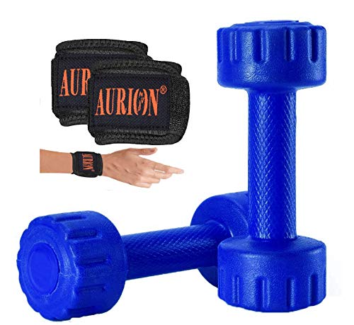 Aurion Set of 2 PVC Dumbbells Weights Fitness Home Gym Exercise Barbell (Pack of 2) Light Heavy for Women & Men?s Dumbbell with Wrist Support