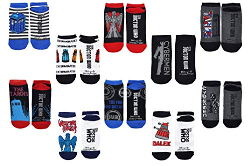 Doctor Who Socks Merchandise (10 Pair) - (Women) Dr Who Gifts Cosplay Low Cut Socks - Fits Shoe Size: 4-10 (Ladies) -