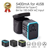 Universal Travel Adapter Ease2U International Power Adapter with 4USB Charger,Type-C,8A Worldwide AC Outlet Plugs for Dual Voltage Hair Dryer culer straightener European UK US AU Asia 200+(Blue)