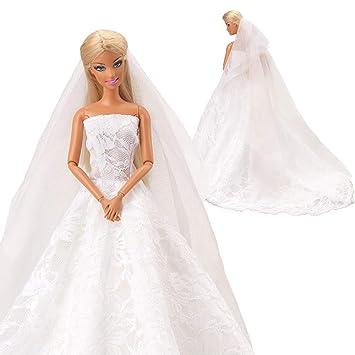 Abendkleid Prinzessin Kleidung Dress Kleider mit Brautschleier für Barbie Puppe Babypuppen & Zubehör Kleidung & Accessoires