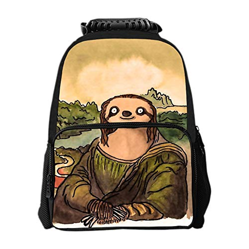 SARA NELL School Backpack Mona Lisa'S Sloth Backpack for Kids School Bag Lightweight Student Bookbags for Boys Girls