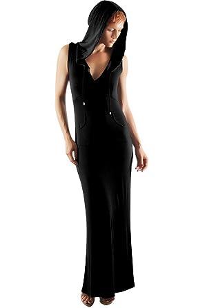 Womens Sleeveless Hooded Maxi Dress Womens Hoodie Black