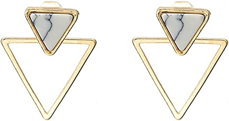 Double silver triangle pair of earrings with black triangle