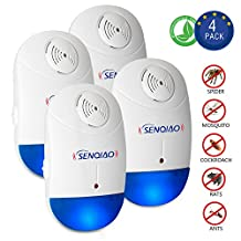 SENQIAO Ultrasonic Pest Repeller,Electronic Plug In Insect Repellent - Pest Control with Night Light,Repellent for Bug, Cockroach, Mosquito, Ant, Spider, Mouse and More for Home Indoor(4 pack)