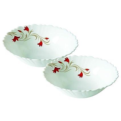 Larah by Borosil Red Lily (LH) Opalware Multipurpose Bowl Set, Set of 2, White