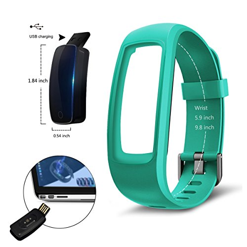 Fitness Tracker, moreFit Slim Touch HR Heart Rate Waterproof Activity (Green)