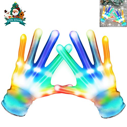 MAOXIAN Flashing LED Gloves,Kid Camping Outdoor Games for 4 5 6 7 8 9 10 11 12 Year Old and Above can wear, Halloween Christmas Party Best Costume Gift,in The Dark Party Favor Sensory Glow Toys
