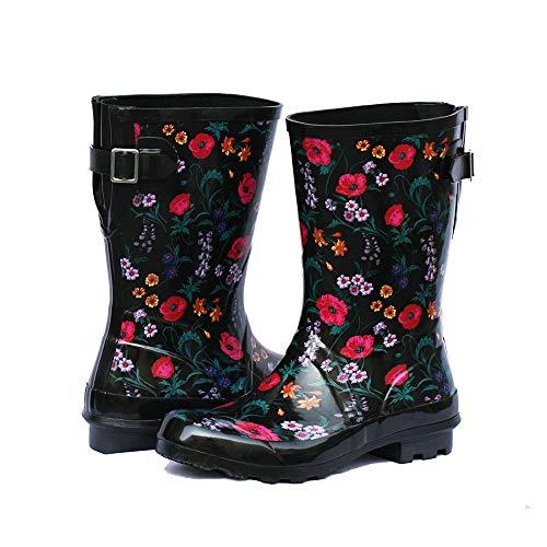 Z. Emma Women's Adjustable Buckle Outdoor Slip Resistant Waterproof Printed Mid Calf Rain Boots Black 7