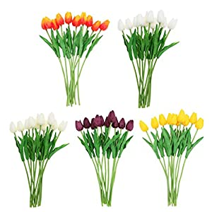 GSD2FF 10pcs Artificial Tulip Flowers Wedding Decoration PU Leather Tulip Flower Bouquet Wedding Party Decorative Flower 105
