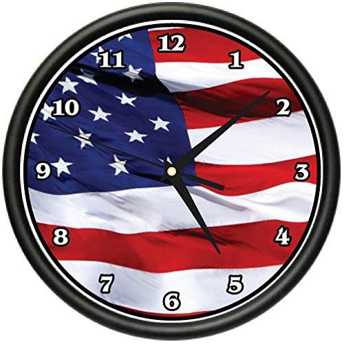 AMERICAN FLAG Wall Clock usa patriot stars and stripes ()