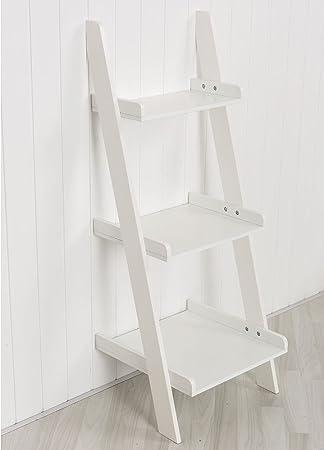 HOME FURNITURE Blanco estantería de Escalera estantería con Tres baldas – Perfecto para Cualquier Pasillo, Dormitorio, Sala de Estar, Habitaciones de Comedor o Cuarto de baño: Amazon.es: Hogar
