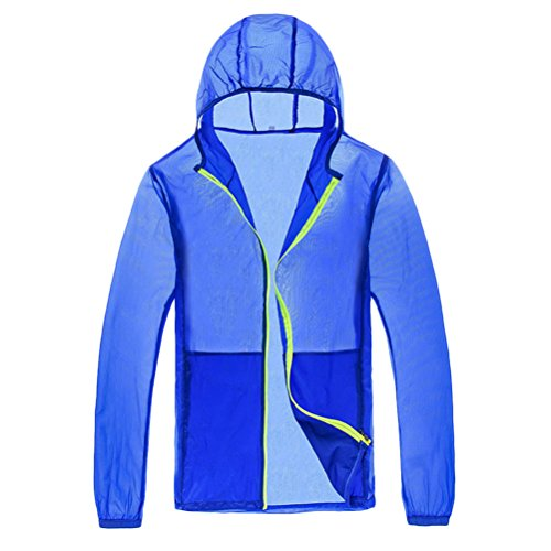 Zhhlinyuan Fashion High Quality Men and Women Anti-UV Lightweight Waterproof Rainproof Jacket Royal Blue