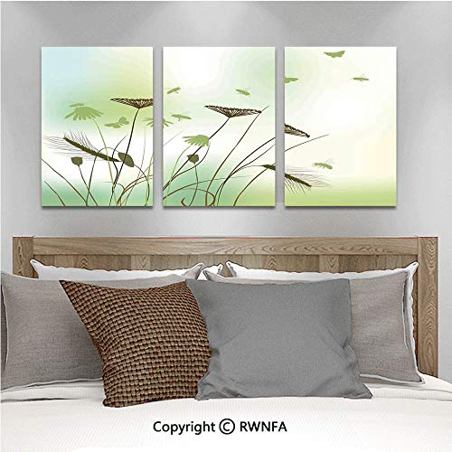 - 3Pc Creative Wall Stickers Silhouette of Dragonflies Bees Butterflies Flying All Over The Flowers Spring Theme Bedroom Kids Room Nursery Dinning Wall Decals Removable Art Murals,19.7