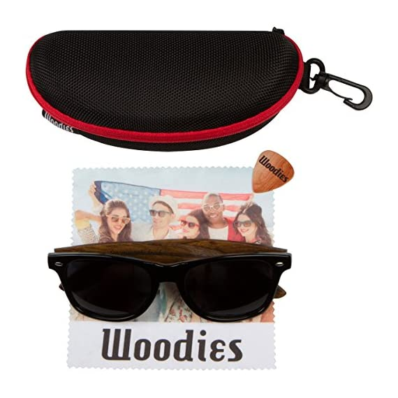 Woodies Walnut Wood Sunglasses with Black Polarized Lenses for Men or Women 3 COMFORTABLE: 50% Lighter than Ray-Bans SAFETY: Polarized Lenses Provide 100% UVA/UVB Protection EXTRAS: Includes FREE Carrying Case, Lens Cloth, and Wood Guitar Pick