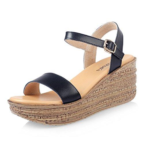 Ms verano cuña sandalias/zapatos de plataforma simple y cómodo/Zapatos de plataforma versátil B