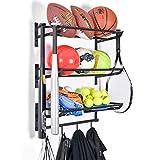Sports Equipment Storage Rack for Baseball/Basketball/Football/Badminton/Golf/Yoga/Exercise Balls - Four Badminton Tennis Hold - 3 Separate Storage Rack - 4 Hooks for Fences and Concrete