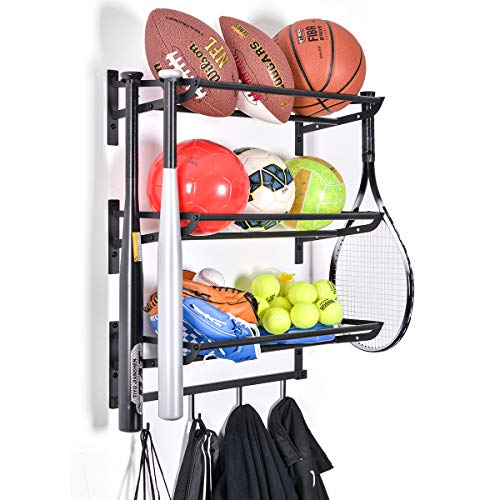Sports Equipment Storage Rack for Baseball/Basketball/Football/Badminton/Golf/Yoga/Exercise Balls - Four Badminton Tennis Hold - 3 Separate Storage Rack - 4 Hooks for Fences and Concrete