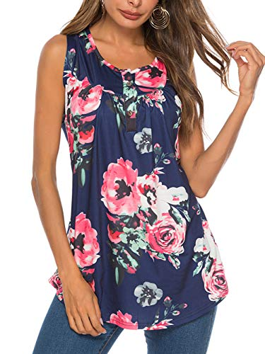 Famulily Sleeveless Shirts for Juniors Summer Tunic Tops Flower Print Top Scoop Neck Flared Hem A Line Casual Floral Tank Tops Navy XXL ()