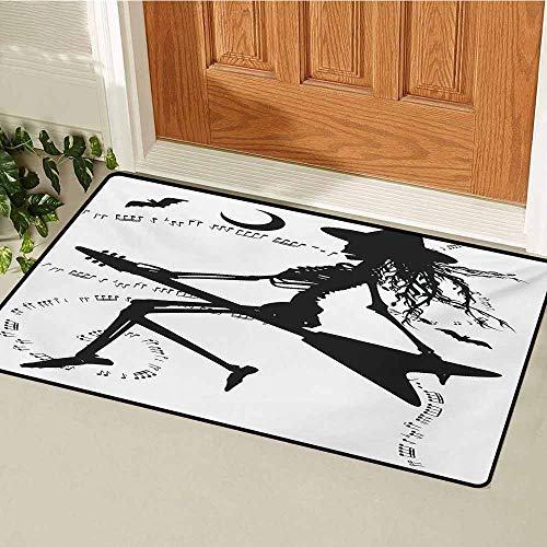 Music Commercial Grade Entrance mat Witch Flying on Electric Guitar Notes Bat Magical Halloween Artistic Illustration for entrances garages patios W23.6 x L35.4 Inch Black White