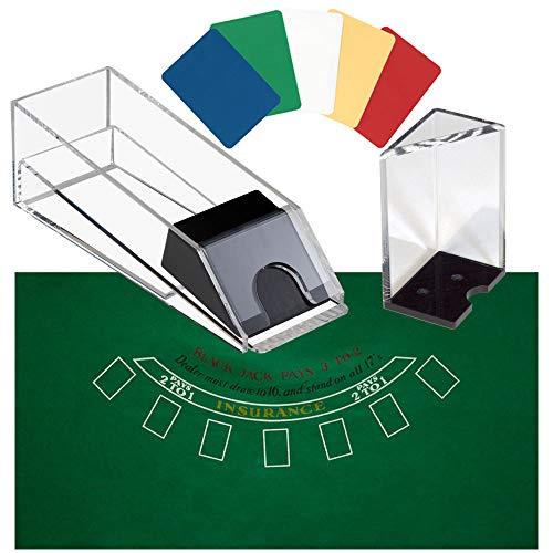 (GSE Games & Sports Expert Acrylic Blackjack Dealing Shoe/Discard Holder Tray (2-Deck to 8-Deck) (8 Deck Blackjack Combo Set))