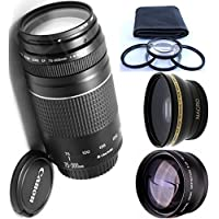 Canon 75-300mm III Zoom Lens + 4pc Macro Lenses Set (+1 +2 +4 +10) + High Definition Wide Angle Auxiliary Lens + High Definition Telephoto Auxiliary Lens