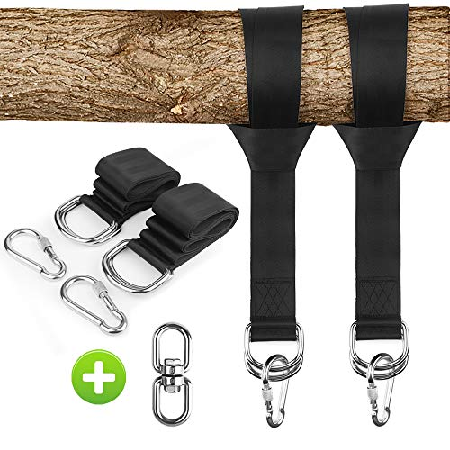 ZEXMTE Tree Swing Hanging Straps Kit Holds 2200 lbs,Two 5ft Straps with Safer Heavy Duty Carabiner and Swivel Hook,Perfect for Hammocks & Most Swing Seats ()