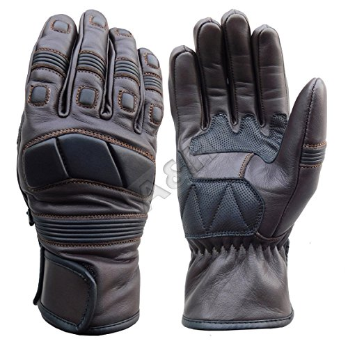 A&H Apparel Mens Motorcycle Leather Gloves Genuine Cowhide Heavy Duty Protective Glove Street Racing And Off Road Glove (XX-Large) (Gloves Leather Naked Motorcycle)
