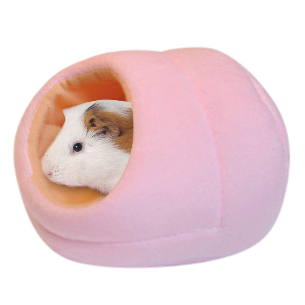 Ridkodg Lovely Warm Small Animal Bed Mat Hamster Chinchilla Rabbit Nest Pet Supplies New (14.5x15x10cm, Pink)