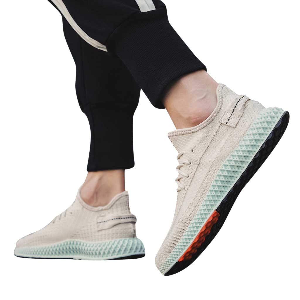 Mens Breathable Sports Shoes,Males Summer Mesh Sneakers Casual Solid Walking Comfy Lace up Athletic Running Shoes