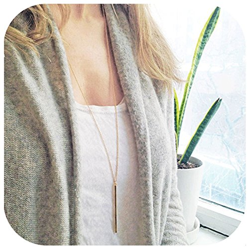 e Bar Pendant Necklace Center Long Lariat Chain For Women Jewelry ()