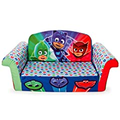 Give your preschoolers a space to call their own with the PJ masks Marshmallow flip-open Sofa. Built just for toddlers to lounge and relax in, this comfy couch measures approximately 10 inches tall, 28.5 inches wide, and 16 inches deep. Its r...