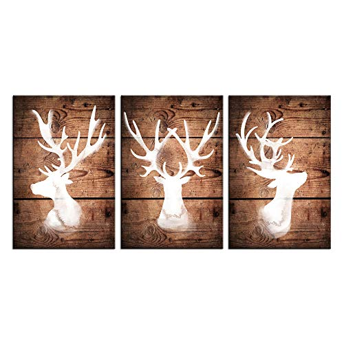 sechars - 3 Pieces Canvas Wall Art North American Wild Animals Deer Silhouettes Picture Prints Large Horns Elk Painting Vintage Home Decor Gallery Wrapped Art Christmas Decorations Gift