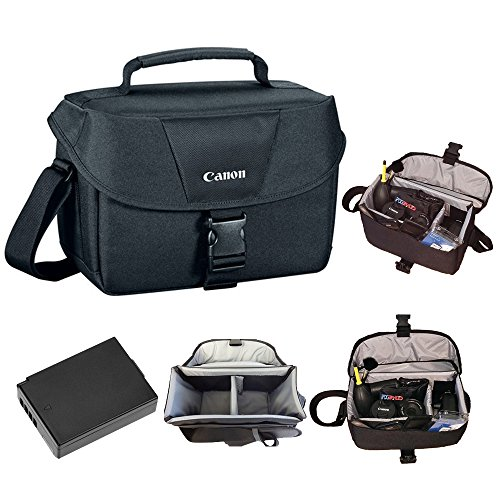 Canon 100ES Soft Padded Compact Multi Compartment SLR Digital Camera Gadget Bag with Adjustable Shoulder Strap for Canon EOS Cameras + Replacement LP-E10 Rechargeable Battery + PixiBytes Exclusive Cleaning Cloth by Pixibytes