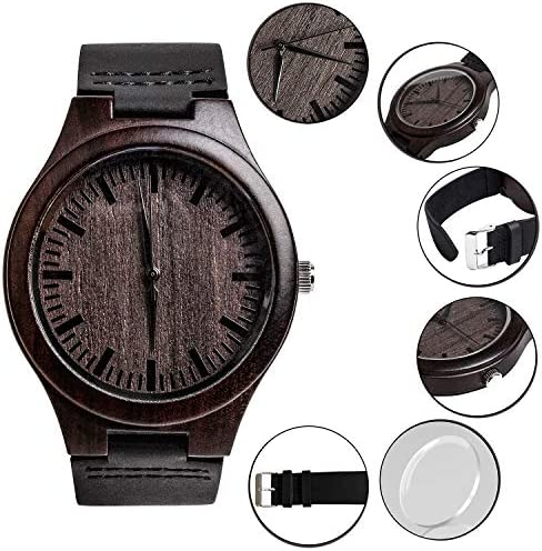 Engraved Mens Vintage Analog Quartz Wooden Wrist Watches Handmade Casual Men Father Watch with Cowhide Leather Strap Personalized Gifts for Men Husband Boyfriend Dad WeeklyReviewer