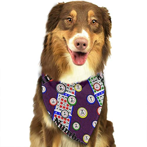 ZZJIAK Dog Bandana Scarf Bingo I Need One More Numbe Triangle Bibs Printing Kerchief Set Accessories Dogs Cats Pets