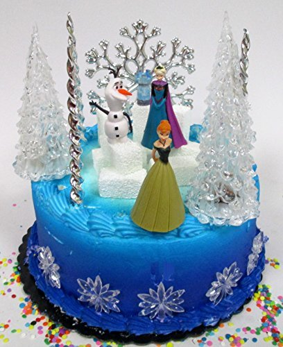 Winter Wonderland Princess Elsa Frozen Birthday Cake Topper Set Featuring Anna, Elsa, Olaf and Decorative Themed -