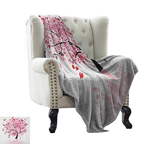 Anyangeight Tree, Digital Printing Blanket, Abstract Tree with Floral Burst Blossoms Daisies Leaves Butterflies Forest, Digital Printing Blanket, (W50 x L60 Inch Brown Red Pink White