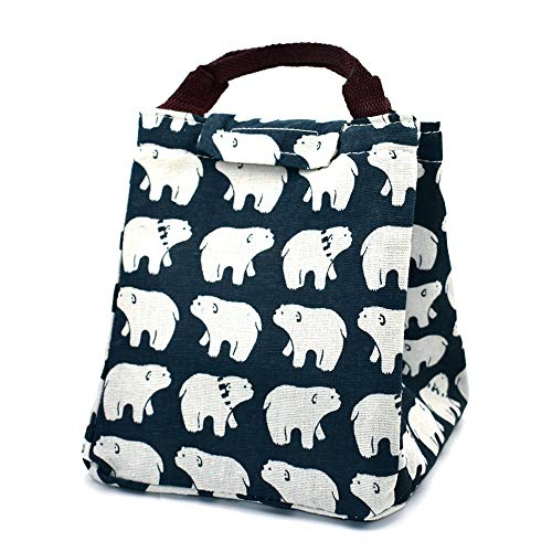 A Little Lemon Cute Reusable Insulated Lunch Bag Tote Soft Cooler Carry Bag for Travel and Picnic (Polar Bear)