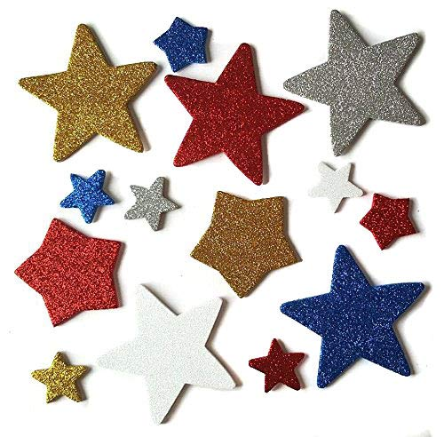 Red, White, Blue, Silver, and Gold Foam Star Stickers