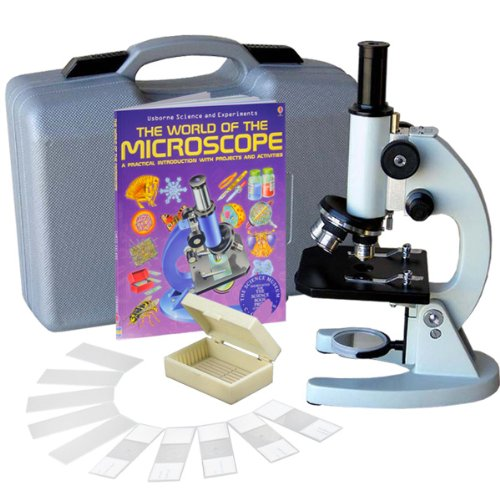 AmScope M60C-ABS-PB10-WM Beginner Microscope Kit, Mirror Illumination, WF10x and WF20x Eyepieces, 40x-1000x Magnification, Includes Case, 5 Blank Slides, 5 Prepared Slides, and - Blanks United Lens Mirror