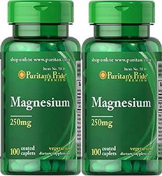 2 MAGNESIO 250 mgr. 100 TABLETAS (HIPERTENSION, ACNE) PURITANS PRIDE