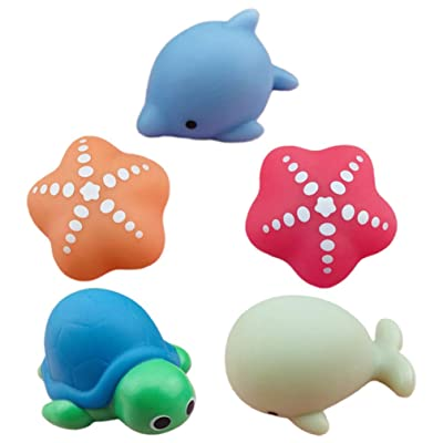 TOYANDONA 5pcs Bath Toys for Toddlers Light Up Animal Bath Toys LED Baby Bath Toy for Toddlers Infants Kids Babies (Random Pattern): Toys & Games