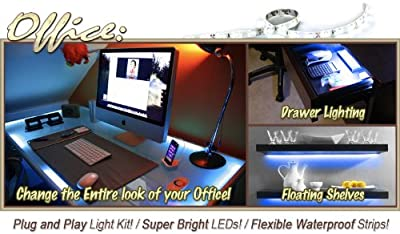 3.3' ft Blue Home Office Desk Computer Remote Controlled LED Strip Lighting SMD3528 Wall Plug - Under Desk Hutch, In Drawers, Bookshelf, Reading Light, Glass Case Lighting LED Reading Light Strip Night Light Lamp Bulb Accent Lights SMD3528 Waterproof 3528
