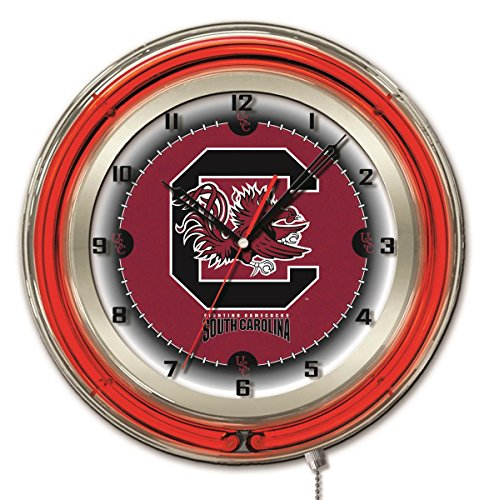 South Carolina Gamecocks HBS Neon Red College Battery Powered Wall Clock ()
