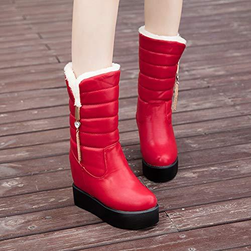 Zapatos Mujer Nieve Aumento Casuales De Botas Invierno Altura Grueso Antideslizante Calidez Para Red qZgnw