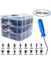 670 Pcs Push Retainer Set, Free Fastener Remover,Great Assortment of Push Type Retainers Fits for GM Ford Toyota Honda Chrysler with Plastic Storage Case