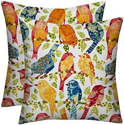 RSH D cor Indoor Outdoor Set of Decorative Throw / Toss Pillows Ash Hill Garden Birds 2 17″x17″ Square Pillow