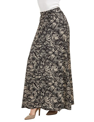 WB1448 Womens Printed Maxi Skirt With Waist Elastic Band M Sharp_Taupe ()